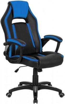Кресло игровое Бюрократ CH-829/BL+BLUE черный/синий искусственная кожа кресло игровое бюрократ ch 774 на колесиках искусственная кожа черный синий синий [ch 774 bl blue]