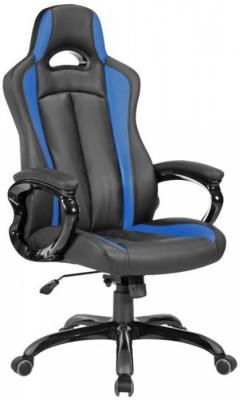 Кресло игровое Бюрократ CH-827/BL+BLUE черный/синий искусственная кожа кресло игровое бюрократ ch 774 на колесиках искусственная кожа черный синий синий [ch 774 bl blue]