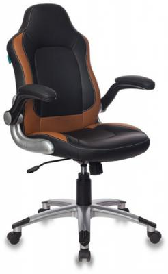Кресло руководителя Бюрократ CH-825A/BLACK+BG вставки бежевый сиденье черный искусственная кожа (пластик серебро) кресло руководителя бюрократ ch 868axsn red сиденье красный искусственная кожа пластик темно серый