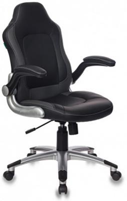 Кресло руководителя Бюрократ CH-825A/BLACK+GR вставки серый сиденье черный искусственная кожа (пластик серебро) цена