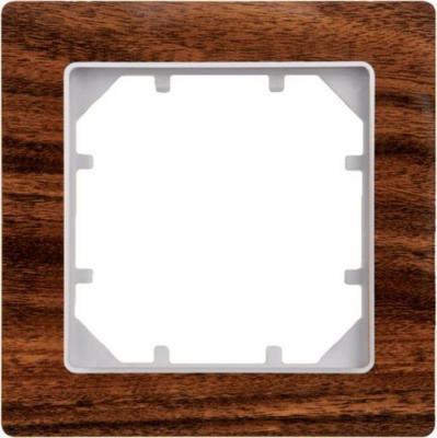 Рамка ZAKRU 602691 CLASICO MADERA 1 пост (темное матовое дерево) пластик цена