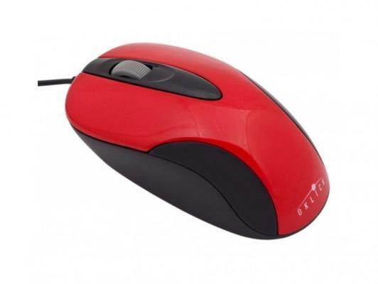 Мышь проводная Oklick 151M чёрный красный USB мышь проводная oklick 225m чёрный синий usb