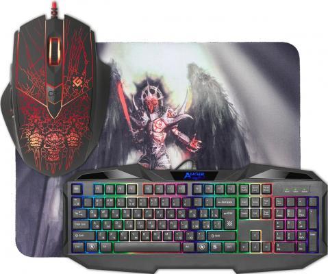 Клавиатура проводная Defender Anger MKP-019 RU USB черный мышь + коврик 52019