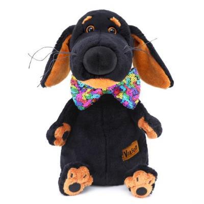 Мягкая игрушка собака BUDI BASA Ваксон в галстуке-бабочке в пайетках искусственный мех 25 см мягкая игрушка в пайетках сова 10см