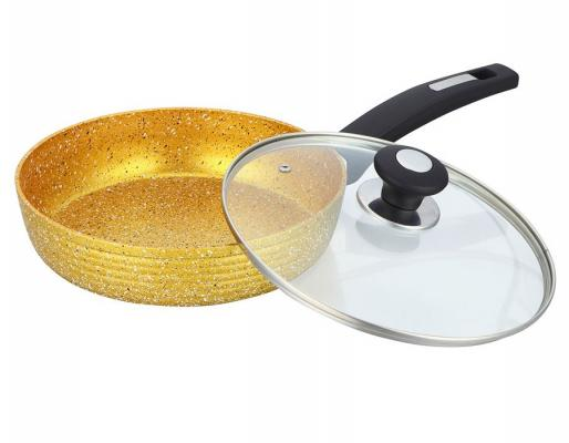 3795-BK Сковорода  BEKKER 24см (6) GOLDEN с крышкой. Состав: кованый алюминий.