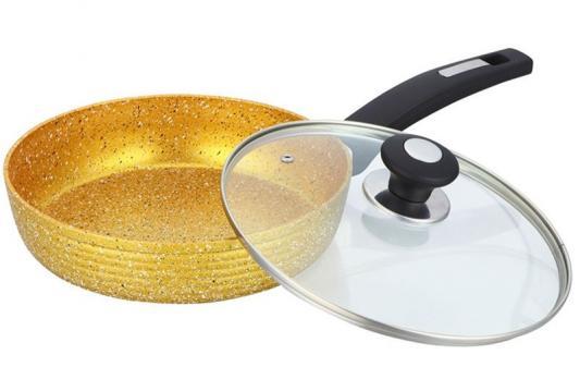 3796-BK Сковорода  BEKKER 26см (6) GOLDEN с крышкой.Состав: кованый алюминий.