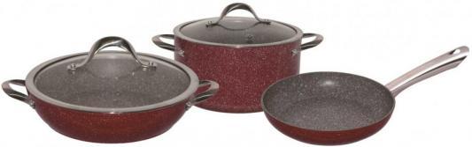 4610-BK Набор посуды BEKKER 5пр. с мраморным покр. GARNET.Состав: алюминий.