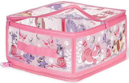 Коробка для хранения VALIANT KCCD-ZIP-M Киски и собачки 30*28*15 см цена в Москве и Питере