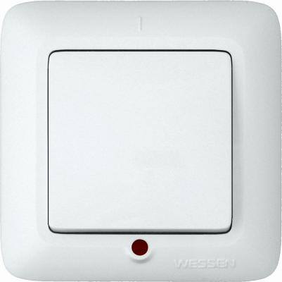 Выключатель WESSEN S16-053-BI Прима Бел 1-клавишный с подсветкой 6А в сборе индивид.упаковка
