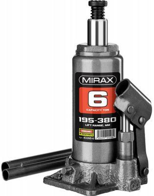 Домкрат MIRAX 43260-6 гидравлический бутылочный 6т 195-380мм домкрат гидравлический бутылочный телескопический matrix 6т 170 430мм 50747