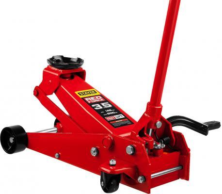Домкрат STAYER 43155-3.5 гидравлический подкатной red force с педалью 3.5т 145-500мм