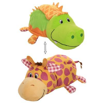 Вывернушка Крокодильчик-Жираф 1toy Ням-Ням 2-в-1 искусственный мех текстиль наполнитель 40 см