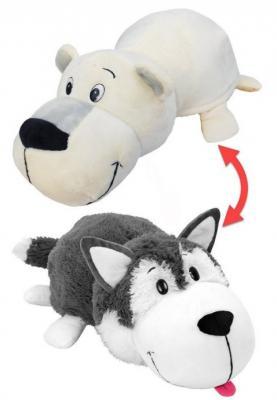 Купить Вывернушка Хаски-Полярный Медведь 1toy 2в1 Хаски-Полярный Медведь искусственный мех белый серый 12 см, белый, серый, Интерактивные мягкие игрушки