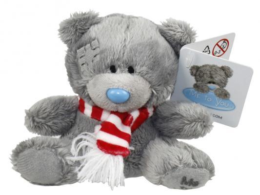Мягкая игрушка мишка 1toy Мишка с шарфиком плюш синтепон пластик текстиль 9 см мягкая игрушка медведь ty мишка brownie плюш коричневый 25 см 90222