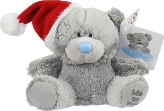 Мягкая игрушка мишка 1toy Мишка в НГ шапочке плюш 9 см