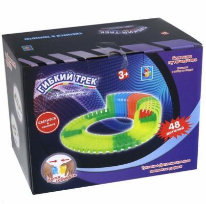 1Тoy Отдельная деталь для серии гибкий трек - туннель (24 дет) + 24 светящихся в темноте детали трека 1тoy отдельная деталь для серии гибкий трек разводной мост