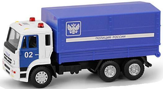 Купить Play Smart 1:54 инерционный металлический грузовик Полиция , 17x9x6, 5см, синий, Детские модели машинок