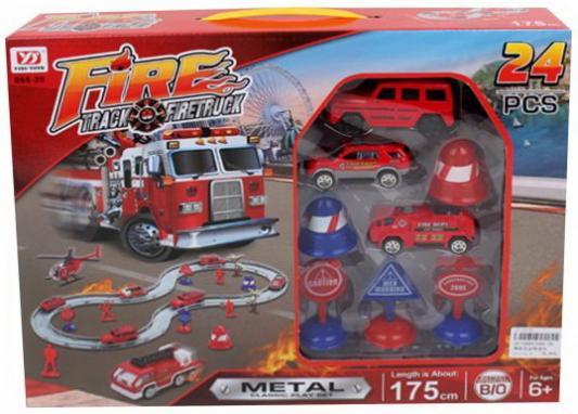 Автотрек эл., Пожарный, деталей 24шт., машина, машина металл.2шт., дорожные аксессуары 5шт., коробка