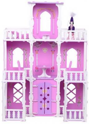 Домик для кукол Дом Малика бело-розово-сиреневый с мебелью