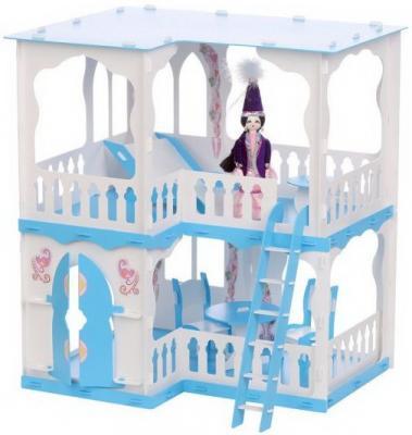 все цены на Домик для кукол Дом Алсу бело-голубой с мебелью онлайн