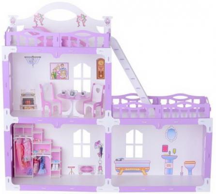 все цены на Домик для кукол Анна бело-сиреневый с мебелью онлайн