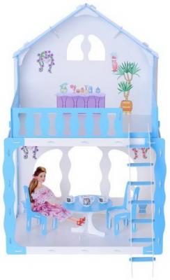 все цены на Домик для кукол Дом Mарина бело-голубой с мебелью онлайн