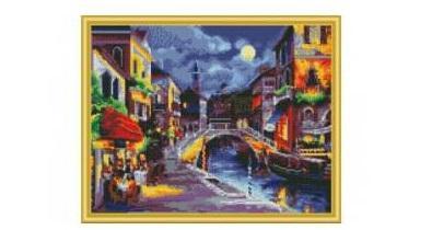 Мозаика алмазная РЫЖИЙ КОТ Ночная Венеция