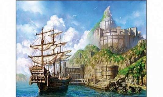 цена на Мозаика алмазная РЫЖИЙ КОТ Корабль у берега
