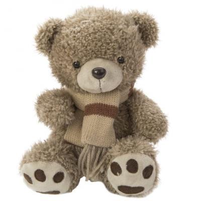 Купить Мягкая игрушка мишка Fluffy Family Мишка с шарфом искусственный мех трикотаж пластик коричневый 20 см, искусственный мех, пластик, трикотаж, Животные