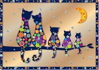 Купить Набор для творчества Клеvер Семья котов от 8 лет, Наборы для аппликации