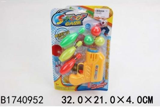 Купить Пистолет Shantou Пистолет с шарами + кегли цвет в ассортименте, 4x21x32см, для мальчика, Игрушечное оружие