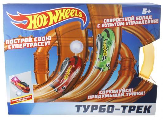 Hot Wheels турбо-трек (55 деталей, ИК управл., 2 болида, со светом) hot wheels турбо трек 28 деталей ик управл 1 болид со светом
