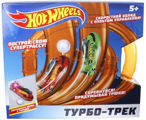 Hot Wheels турбо-трек (39 деталей, ИК управл., 2 болида, со светом) hot wheels турбо трек 28 деталей ик управл 1 болид со светом