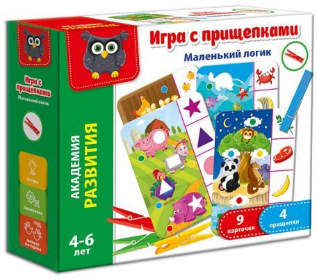 Настольная игра Vladi toys развивающая Маленький логик (с прищепками) VT5303-03 настольная игра развивающая vladi toys прищепочки зайка vt1307 04 vt1307 04