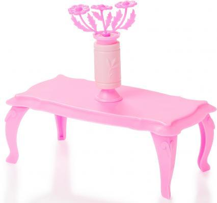 Купить Журнальный столик Огонек с цветами, розовый С-1395, Аксессуары для кукол