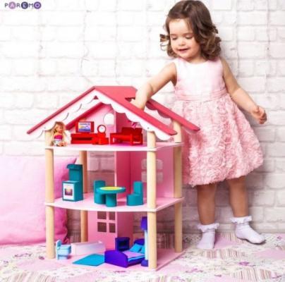 Кукольный домик Роза Хутор трехэтажный, для кукол до 12 см (14 предметов мебели) кукольный домик paremo милана с 15 предметами мебели
