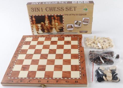 Настольная игра Shantou стратегическая 3-в-1 (шашки, шахматы, нарды) W001M B1530346 игра madon шахматы туристические 3 в 1 181 142