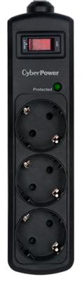 CyberPower Сетевой Фильтр B0310SA0-DE_B, 3 розетки, 1 метр, чёрный.