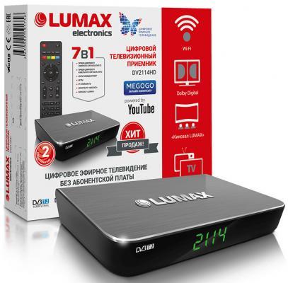 Приставка DVB-T2 LUMAX/ GX3235S, Пластик, Dolby Digital, Wi-Fi, IPTV-плейлисты, YouTube, Кинозал LUMAX (более 500 фильмов), MEGOGO, 3 RCA, USB, HDMI