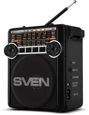 АС SVEN SRP-355, черный (3 Вт, FM/AM/SW, USB, SD/microSD, фонарь, встроенный аккумулятор) ас sven ps 320 черный акустическая система 2 0 мощность 2x7 5 вт rms waterproof ipx7 bluetooth встроенный аккумулятор
