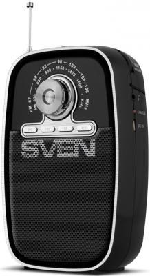 АС SVEN SRP-445, черный (3 Вт, FM/AM, USB, microSD, встроенный аккумулятор) ас sven ps 320 черный акустическая система 2 0 мощность 2x7 5 вт rms waterproof ipx7 bluetooth встроенный аккумулятор
