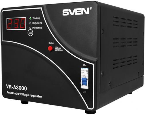 Stabilizer SVEN VR-A3000, Relay, 3000VA, 1800W, 140-275v, output terminals, black, 317 ? 230 ? 240mm, 7.2kg. new original dvp32ec00r3 plc ec3 series 100 240vac 16di 16do relay output