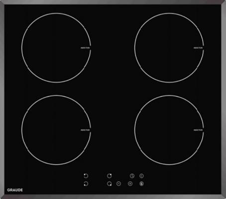 Индукционные варочные панели Graude/ Индукционная, 590 х 62 х 520 мм, индукционная, Сенсорное управление, Исполнение: facette, 9 ступеней нагрева, Функция таймера, Индикация остаточного тепла, Защита от детей, Автоматическое отключение