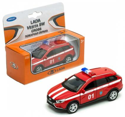 Автомобиль WELLY Lada Vesta SW Cross. Пожарная охрана 1:34-39 красный 43763FS welly welly набор служба спасения пожарная команда 4 штуки