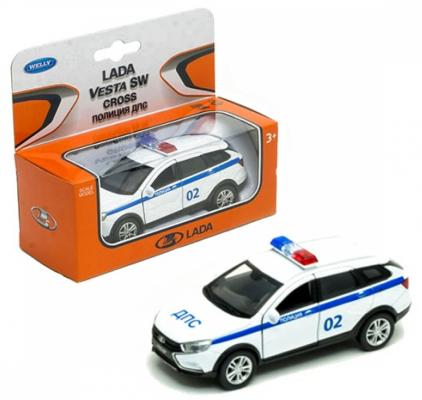 Полиция WELLY Lada Vesta SW Cross 1:34-39 белый машинка welly lada vesta sw cross 1 34 39