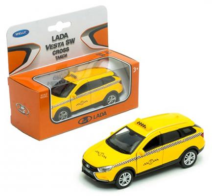 Такси WELLY Lada Vesta SW Cross 1:34-39 желтый 43763TI машинка welly lada vesta sw cross 1 34 39