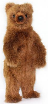 Мягкая игрушка Медведь Hansa Медведь гризли стоящий искусственный мех коричневый 40 см цена