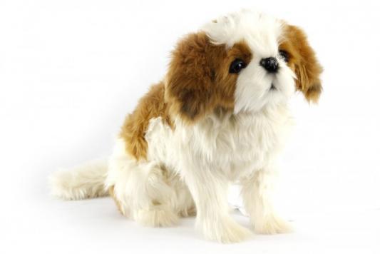 Мягкая игрушка собака Hansa Ши-тцу сидящая текстиль искусственный мех пластик металл 36 см мягкая игрушка собака maxitoys хаски искусственный мех текстиль пластик белый серый 18 см