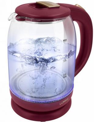 Чайник электрический Lumme LU-142 1800 Вт красный рубин 2 л пластик/стекло чайник электрический lumme lu 142 серый гранит