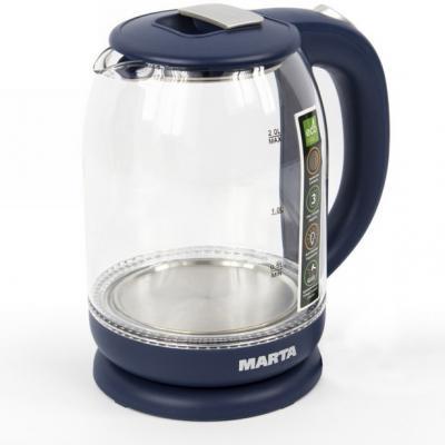 Чайник электрический Marta MT-1096 1800 Вт серебряный сапфир 2 л металл/стекло